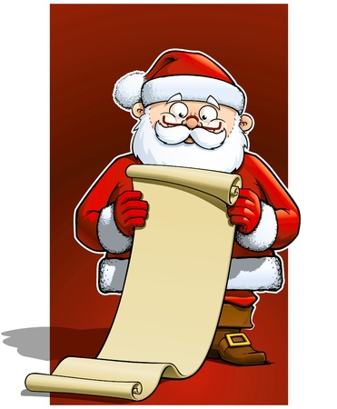 Santa holding a scroll with the list of gift needed to be prepared. Vector