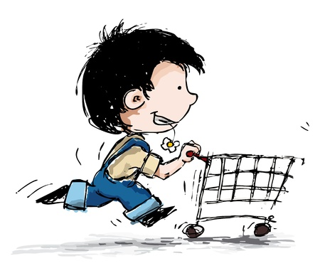 side profile: Grunge style illustration of a boy in suspenders running with a shopping cart Illustration