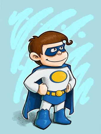 A grunge illustration of a boy dressed as Superhero. Vector