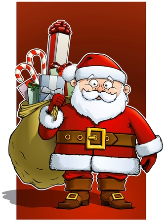 Santa holding a big sack of gifts.  Illustration