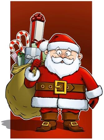Santa holding a big sack of gifts.  Illustration