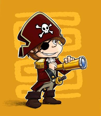 A grunge illustration of a boy dressed as pirate.  Illustration