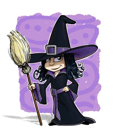 A grunge illustration of a girl dressed as witch.