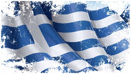 Grunge textured Greek Flag Vector