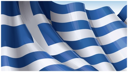 greek flag:  Waving Greek flag on clear sky background