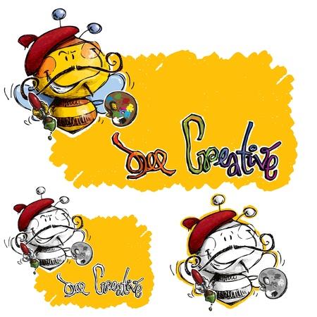A roughed designed Painter Bee    Ilustração