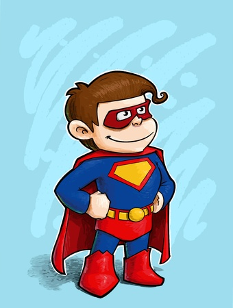 A grunge illustration of a boy dressed as Superhero