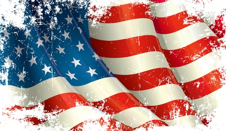 Waving US flag under a grunge texture layer… Vector