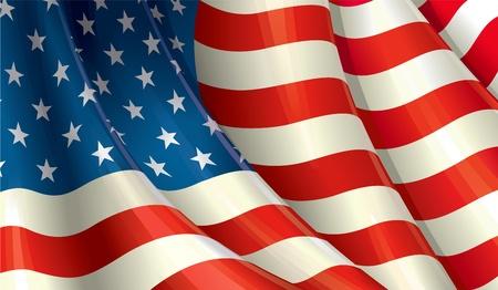 bandera americana: Limpie el dise�o de corte de una ondulante bandera estadounidense