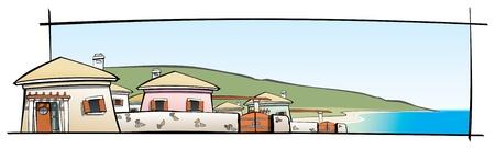beach front: Vector illustration of a summer settlement Illustration
