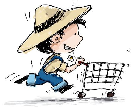 sombrero de paja: Grunge ilustraci�n estilo de un chico de tirantes y un sombrero de paja que se ejecuta con un carrito de la compra