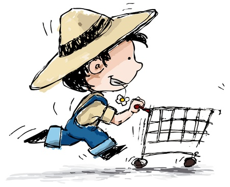 straw hat: Grunge style illustration of a boy in suspenders and a straw hat running with a shopping cart