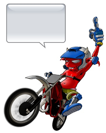 Little Devils Riding A Motto Cross giving the finger    Stock Photo - 12654736