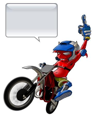 motor race: Little Devils Riding Een Motto Kruis het geven van de vinger