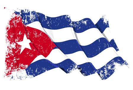 bandera cuba: Ondeando la bandera cubana en una capa de la textura del grunge