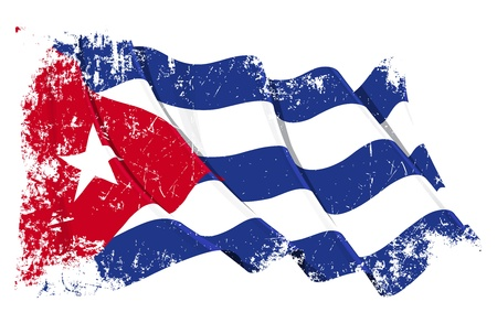 cuba flag: Waving Cuban flag under a grunge texture layer
