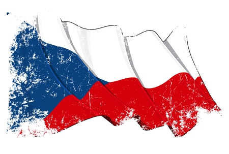 Waving Czech flag under a grunge texture layer Vector