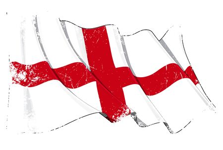 british isles: Waving English flag under a grunge texture layer Illustration