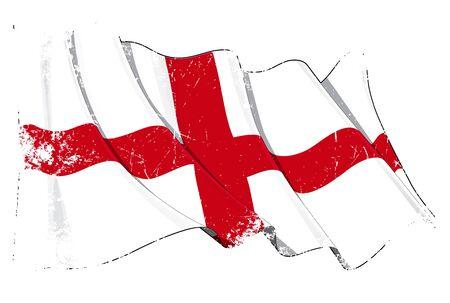 bitmap: Waving English flag under a grunge texture layer Illustration