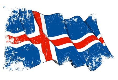 icelandic flag: Ondeando la bandera de Islandia bajo una capa de textura del grunge