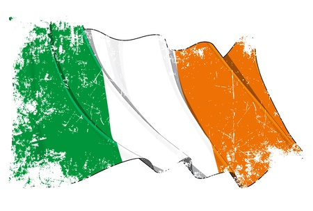 british isles: Waving Irish flag under a grunge texture layer