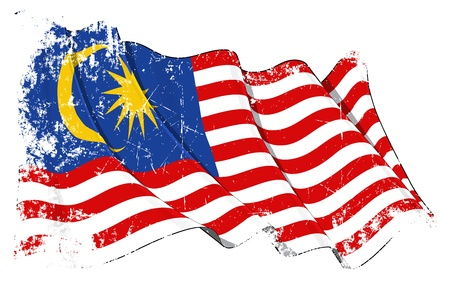 Waving Malaysia flag under a grunge texture layer