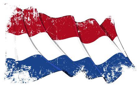 Ondeando la bandera holandesa bajo una capa de textura del grunge