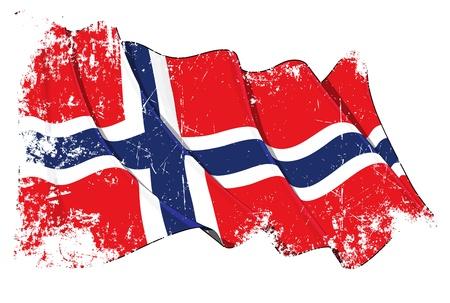 grunge cross: Sventola bandiera norvegese sotto uno strato grunge texture Vettoriali