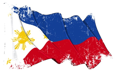 Waving Filipino flag under a grunge texture layer