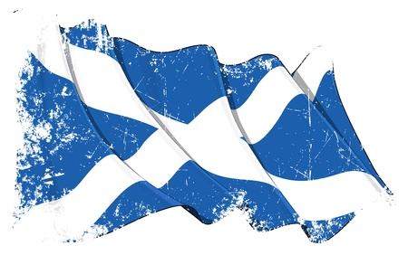 Waving Scotch flag under a grunge texture layer