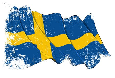 Waving Swedish flag under a grunge texture layer Vector