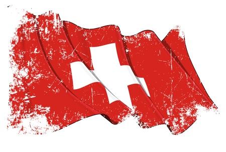 zwitserland vlag: Zwaaien Zwitserse vlag onder een grunge textuur laag Stock Illustratie