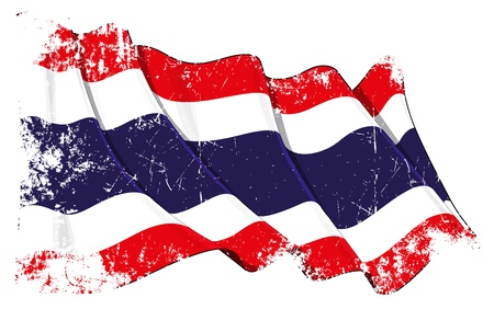 far east: Waving Thai flag under a grunge texture layer Illustration