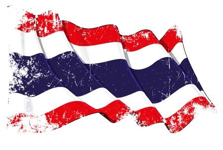 Waving Thai flag under a grunge texture layer Illustration