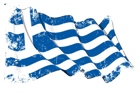 greece flag: Waving flag under a grunge texture layer