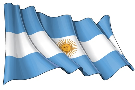 Waving Argentinian flag - EPS v 10 File and a 6800 x 4500 pxl with clipping path Preview JPG - Transparency is used on the shading layers