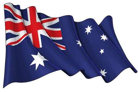 Waving Australian flag and Australian Red Ensign - EPS v 10 File and a 6800 x 4500 pxl with clipping path Preview JPG - Transparency is used on the shading layers Illustration