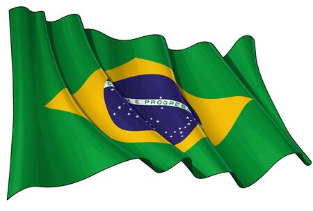 brazilian flag: Waving Brazilian flag - EPS v 10 File and a 6800 x 4500 pxl with clipping path Preview JPG - Transparency is used on the shading layers