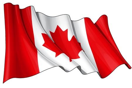 Agitant un drapeau canadien - EPS v 10 et un fichier 6800 x 4500 pxl, Coupure Aperçu chemin JPG - La transparence est utilisé sur les couches d'ombrage