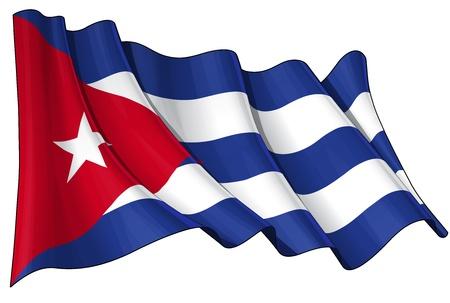 cubana: Ondeando la bandera cubana - EPS v 10 archivos y un 6800 x 4500 pxl con saturaci�n camino JPG Preview - La transparencia se utiliza en las capas de sombreado Vectores