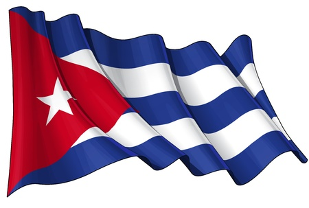 cuban flag: Waving Cuban flag - EPS v 10 File and a 6800 x 4500 pxl with clipping path Preview JPG - Transparency is used on the shading layers