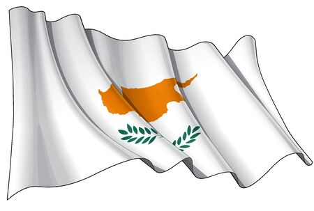 Waving Cyprian flag - EPS v 10 File and a 6800 x 4500 pxl with clipping path Preview JPG - Transparency is used on the shading layers Stock Vector - 14446118