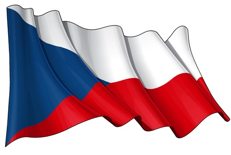 czech flag: Waving Czech flag - EPS v 10 File and a 6800 x 4500 pxl with clipping path Preview JPG - Transparency is used on the shading layers Illustration