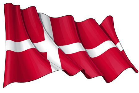 danish flag: Waving Danish flag - EPS v 10 File and a 6800 x 4500 pxl with clipping path Preview JPG - Transparency is used on the shading layers Illustration