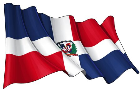 Waving Dominican flag - EPS v 10 File and a 6800 x 4500 pxl with clipping path Preview JPG - Transparency is used on the shading layers Vetores