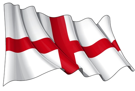 Waving Englands flag - EPS v 10 File and a 6800 x 4500 pxl with clipping path Preview JPG - Transparency is used on the shading layers Stock Vector - 14446119