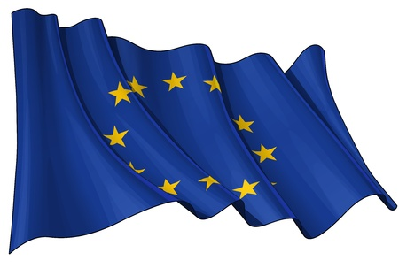 eu flag: Waving EU flag - EPS v 10 File and a 6800 x 4500 pxl with clipping path Preview JPG - Transparency is used on the shading layers Illustration