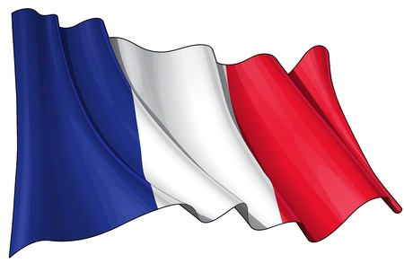 Waving French flag - EPS v 10 File and a 6800 x 4500 pxl with clipping path Preview JPG - Transparency is used on the shading layers Illustration