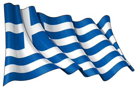 Waving Greek flag - EPS v 10 File and a 6800 x 4500 pxl with clipping path Preview JPG - Transparency is used on the shading layers Иллюстрация