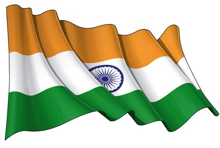 waving flag: Waving Indian flag - EPS v 10 File and a 6800 x 4500 pxl with clipping path Preview JPG - Transparency is used on the shading layers